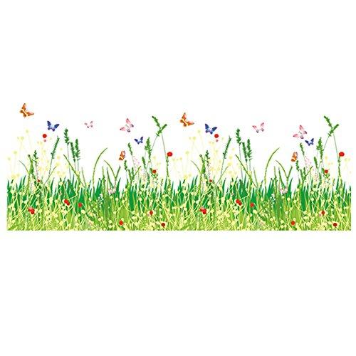 Winhappyhome Vert Herbe Fleur Papillons Sticker décoratif pour plinthe Line Stickers pour Chambre d'enfant Salon Chambre d'enfant Fond DIY Amovible Décoration Stickers