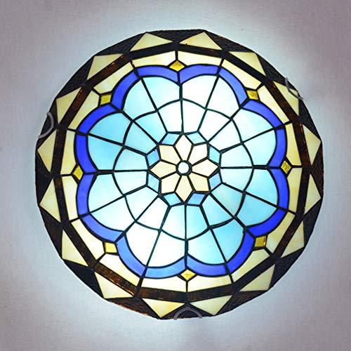 ACHNC Plafonnier Tiffany, Encastré Lampe De Plafond Rétro avec Abat-Jour en Verre Méditerranéen,E27 Lampe Tiffany pour Salon Chambre Balcon Cuisine Lumiere De Plafond, Base E27,30CM