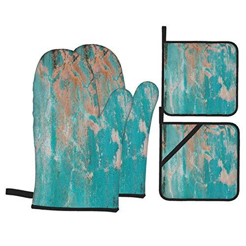 Juego de 4 Guantes y Porta ollas para Horno Resistentes al Calor Viejo Muro de Cemento Verde, Fondo y Textura para Hornear en la Cocina,microondas,Barbacoa