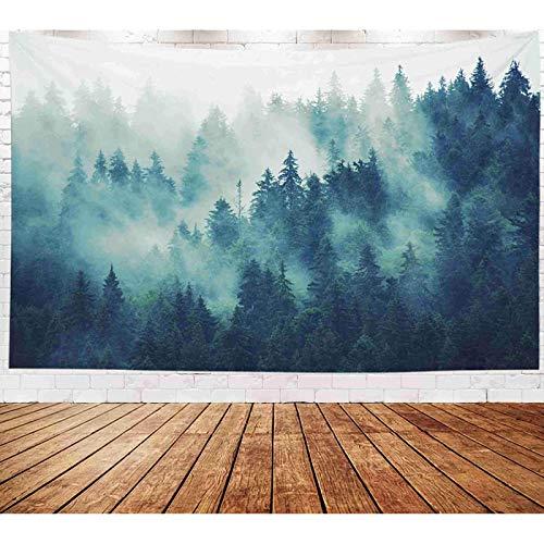 Tapiz gris para colgar en la pared, decoración de la sala de estar, dormitorio para el hogar en casa por impreso para paisaje con bosque de abeto en estilo vintage retro