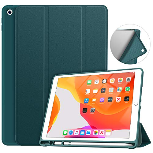 Soke iPad 7th Generation Case, New iPad Case 10.2 Case 2019 with Pencil Holder, Lightweight Smart Cover with Soft TPU Back, Auto Sleep/Wake for iPad 7th Gen 2019(Dark Teal)