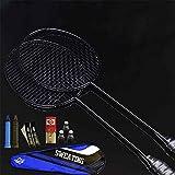 LIANHUI Ensemble Complet De Badminton Deux Raquettes De Badminton Tout Carbone Ensemble De Raquettes De Sport en Fibre De Carbone Légère, avec Badminton, Sac De Raquette (Noir)