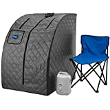 Durasage Lightweight Portable Personal Steam Sauna Spa for Relaxation at Home, 60 Minute Timer, 800 Watt Steam Generator, Chair Included - Gray
