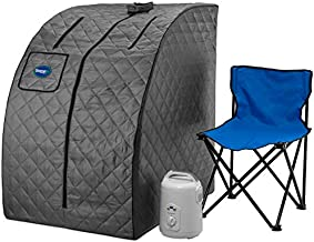 Durasage Lightweight Portable Personal Steam Sauna Spa for Weight Loss, Detox, Relaxation at Home, 60 Minute Timer, 800 Watt Steam Generator, Chair Included - Gray