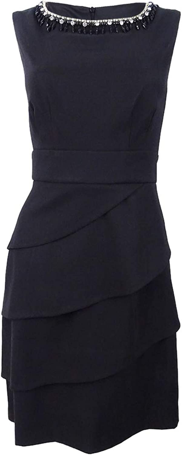 Connected Apparel Womens Embellished Tiered Mini Dress