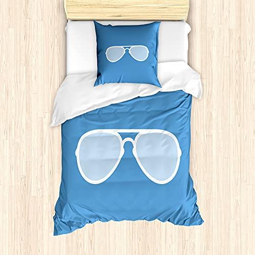 ABAKUHAUS Azul de la Vendimia Funda Nórdica, Aviador Gafas de Sol, Decorativo 2 Piezas con 1 Funda de Almohada, 135 cm x 200 cm - 80 x 80 cm, Azul y Blanco
