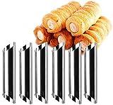 Sdkmah9 Paquete de 12 tubos de acero inoxidable con forma de cannoli, molde de rollo crema, revestimiento antiadherente, forma diagonal, 12,7 cm