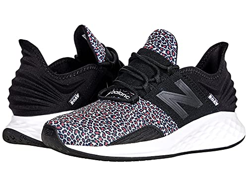 New Balance Women's Fresh Foam Roav V1 Running Shoe, Black/Vivid Coral Leopard, 8
