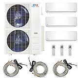 COOPER AND HUNTER Multi Zone Tri 3 Zone 9000 18000 24000 Ductless Mini Split Air Conditioner Heat Pump Full Set WiFi Ready