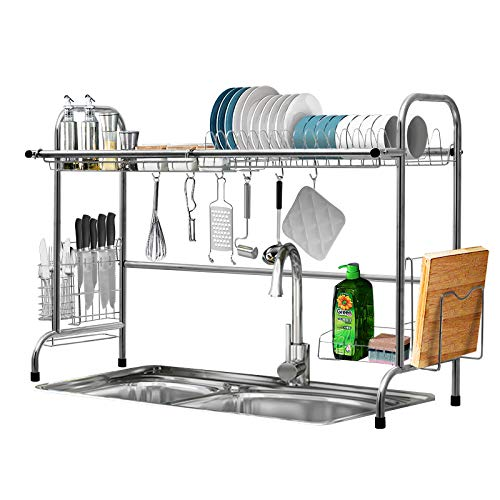 Over The Sink Dish Drying Rack KINGSO 2 Tier Dish Drainer Stainless Steel Kitchen Sink Drying Rack wUtensil Holder 8 Hooks for Kitchen Counter Organization Storage Space Saver Sink Size≤325 inch