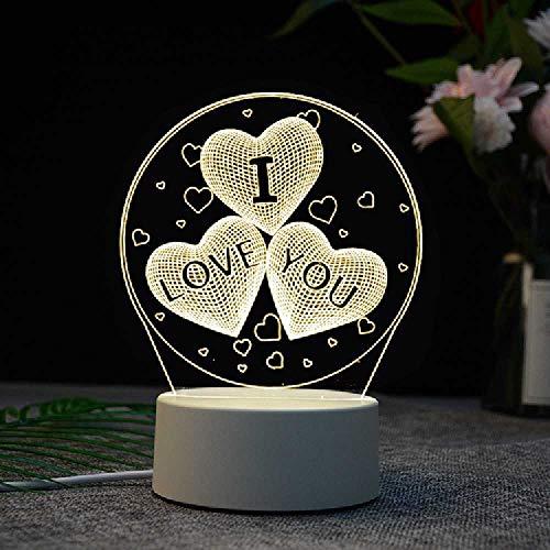 N\C Material De La Sombra De La Lámpara De Acrílico USB táctil + Control Remoto 16 Colores/Three Hearts I Love You