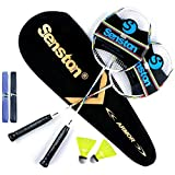 Senston Raquette de Badminton Graphite Shaft, Badminton Racket Set Lot de 2 avec Sac de Badminton