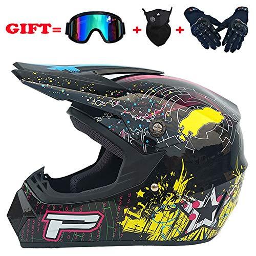 ACC motorhelm helm helm met bril masker, motorcross hoofd bumper helm set bril handschoenen masker hoofd bescherming apparatuur
