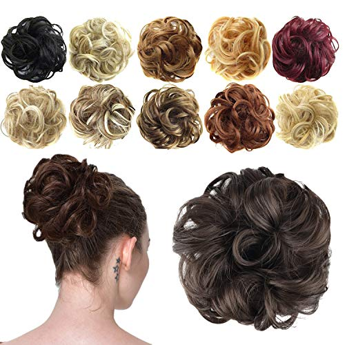 FESHFEN Hair Bun Extensions Messy Curly Hair Scrunchies Hairpieces Synthetic Donut Updo Hair Pieces for Women Girls
