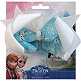The Disney Frozen Olaf Ribbon Bow, made from textured grosgrain ribbon, brings Frozen to life in your decorating or accessory projects 5 in. wide x 4.5 in. tall (12,7 cm x 11,4 cm) tall bow features high-quality ink, printed on light blue ribbon with...