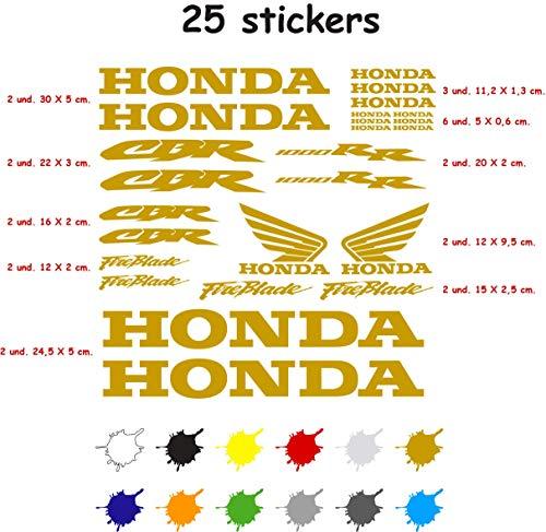 Kit Sticker Adesivo Vinile 7 Anni Rilievo Compatibile Con Honda CBR 1000 RR Contiene 25 Adesivi - Oro