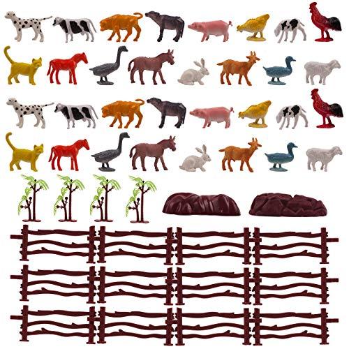 50 Stück Bauernhoftiere Figuren Spielzeug Set mit Bäume, Zäune & Steine - Lernspielzeug für Kinder - Realistisch & Ungiftige.