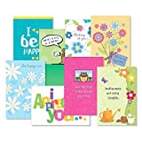 Thinking of You Greeting Cards Value Pack I - Set of 16 (8 Designs) Large 5' x 7' Cards, Sentiments Inside, Friendship Cards
