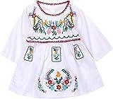 Kashoer Newborn Toddler Baby Girls Ethnic Embroidery Floral Dress Long Sleeve Party Sundress Skirt (12-18Months, White)