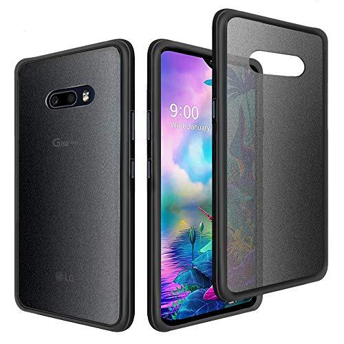 Gobukee Schutz hülle für LG G8X ThinQ/LG V50S ThinQ hülle case stoßdämpfend, durchscheinend, matt, Harte PC-Rückseite & TPU-Bumper, Schwarz