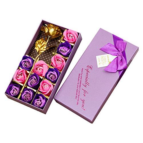 Andouy Blume StrauߠDuftende Seife Rosen mit Goldfolie Rose Einzigartig Geschenk zum Jahrestag Geburtstag Muttertag Valentinstag(22.5x11.5x4cm.Lila-1)