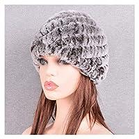 女性のための冬の暖かい帽子ロシアの本物の毛皮のニットキャップ冬の暖かいビーニーの帽子 (色 : Coffee, サイズ : 56to59cm)