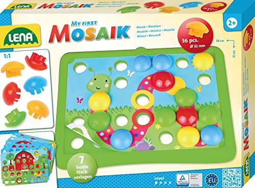 Lena 35632 erstes Mosaik Natur, Steckmosaik mit 36 Steckern, Mosaiksteine mit Ø 32 mm, Mosaikspiel mit 7 Steckvorlagen, Steckspiel für Kinder ab 2 Jahre, My First Mosaic Bastelset