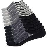 Ueither Calcetines Cortos Hombre Invisibles Respirable Calcetines tobilleros Algodón Antideslizantes (Tamaño: 38-44, Negro/Gris (3 Pares Cada))