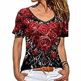 ZFQQ Camiseta de Manga Corta con Estampado de Rosas Multicolor de Verano para Mujer