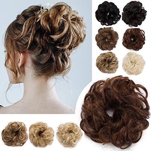 Hair Extensions Haarverlängerung Haargummi Hochsteckfrisuren Dutt Gewellt wie Echthaar Hellbraun & Dunkelbraun Wavy-30g