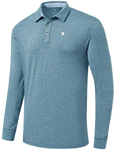 MoFiz Men's Sports Polo Shirts Long Sleeve Golf Shirts Fleece Comfortable Golf Shirts Athletic Golf Polos Shirts Sea Blue Size XL