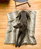 Felldecke aus Webpelzdecke, Hundedecke Grauwolf mit grau-beigem Fell 60x90