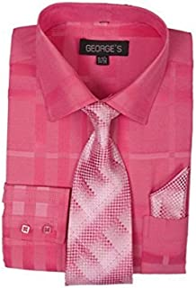 George`s Geometric Pattern Fashion Dress Shirt With Woven Tie and Hankie AH623