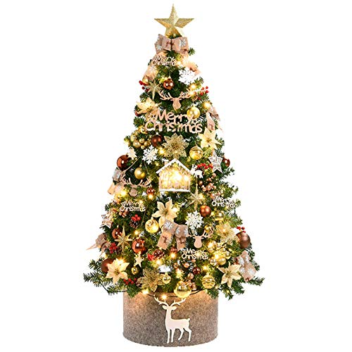 KAUTO Christmas Tree with Decorations,Luxury Artificial Christmas Tree with Star Topper Ribbon Ornaments String Light Garden Decor