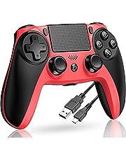 PS4 コントローラー 2021最新版 ワイヤレス ps4コントローラー PS4 Pro/Slim 対応 プレステ4 コントローラー HD振動 ジャイロセンサー ヘッドセット端子 LEDライトバー搭載 赤