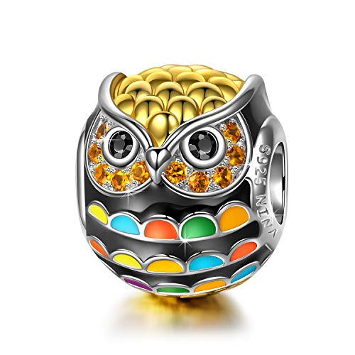 NinaQueen Singing owl 925 Sterling Silver Gold Plated Multicolor Enamel Animal Bead Fit Pandöra Charms for Bracelets Necklace Christmas Gifts For Woman Birthday Anniversary Gifts For Wife