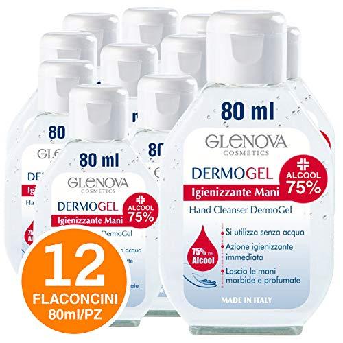 12 Flaconi Gel per Mani GLENOVA 80ml Alcool 75% Igienizzante Antibatterico Profumato Tascabile Sanificante Alcolico Efficace Contro Germi Batteri (12x 80ml)