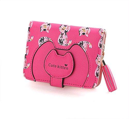 [AMgrocery] 財布 (二つ折り財布) レディース フリンジチャーム付 [パスケース収納付き] 二つ折り ネコ柄 小銭入れ (ストロベリー ピンク)