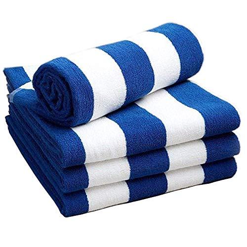 Strand- & Zwembad Chloorbestendige handdoek - Microvezel, Absorberend & Snel Droge Sporthanddoek - 100% katoen - Wasbaar - Lichtgewicht & Compacte reishanddoek - Blauwe en witte strepen Zandvrije handdoek