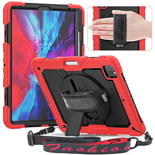 Timecity Case Compatible with iPad Pro 12.9 Inch 2020 & 2018 Case with Screen Protector Pencil Holder [Supports Pencil 2 Wireless Charging] Kickstand with Hand/Shoulder Strap, Anti Scratch, Black+Red