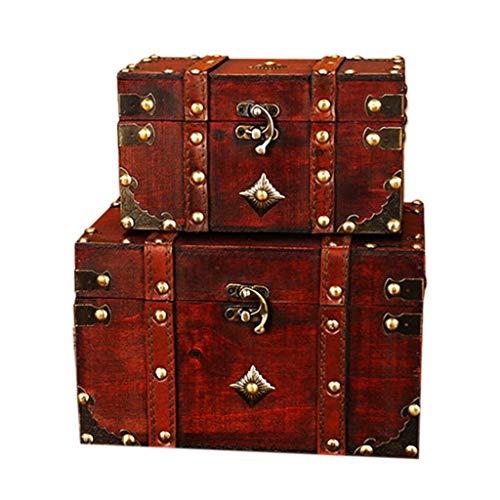 Exquisito joyero Caja retro de estilo europeo de madera caja de joyería cuadrada de madera caja retro accesorios de almacenamiento y almacenamiento artesanía conjunto de 2 piezas Exquisito joyero