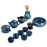 Tianmu Jianzhan Kiln cambió el juego de té conjunto de la casa Jun Hiland Dibujo Kung Fu Tea Set Simple Tetera Tea taza,Blue
