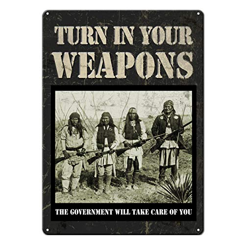 Rivers Edge Products Tin Sign, Turn in Your Guns, Weatherproof with Pre-Punched Holes for Hanging, 17 by 12 Inches