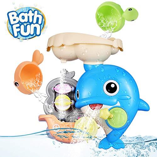 OYE HOYE Badewannenspielzeug für Babys, Delphin Badewannenspielzeug Wassermühle Fun Toy mit Saugnapf Dusche Bath Toys für 1-5 Baby Kleinkind Dusche und Schwimmen Spielzeug