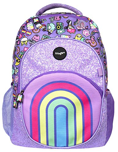 Fringoo - Large Kids Backpack For Girls | Perfect As A School Bag or For Travel Pack Bag | Includes Laptop Pocket, Compartments and Hole for Headphones - Rainbow Smile