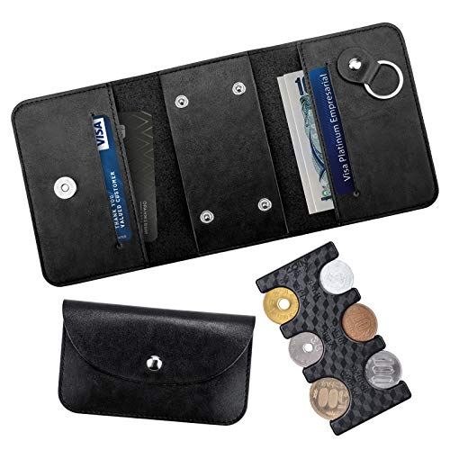 Portable Coin Holder, Exclusive Case, Wallet, Tri-Fold, Coin Purse, Card Pocket, Bill Pocket, Coin Storage, Can Be Sorted Coins, Lightweight, Compact One Hand Draw, Holds 2775 Yen