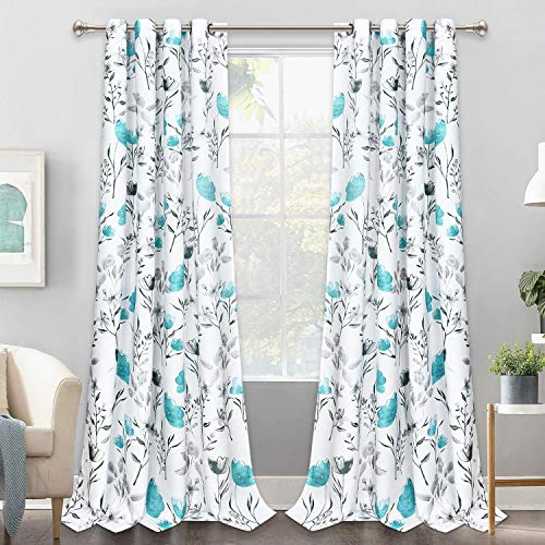 VERTKREA Curtains Flower Watercolor Window Curtains Teal Drapes Room Darkening Window Curtains 52 84 Inches Flower and Leaves Grommet Curtain for Bedroom Living Room Kitchen Bathroom Nursery 2 Panels