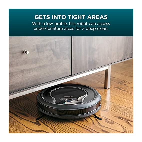 Shark ION Robot Vacuum R75 with Wi-Fi and Voice Control, 0.45 Quarts, in Smoke and Ash 4 THREE BRUSH TYPES. ONE POWERFUL CLEAN: Tri-Brush System combines side brushes, channel brushes, and a multi-surface brushroll to handle debris on all surfaces. COMPLETELY INTEGRATED IN YOUR HOME: Shark ION Robot senses ledges and stairs, avoids damaging furniture and walls, and maneuvers around potential stuck situations, truly knowing your home. CLEAN FROM YOUR PHONE: SharkClean app lets you start and stop cleaning and schedule your robot to clean whenever you want.