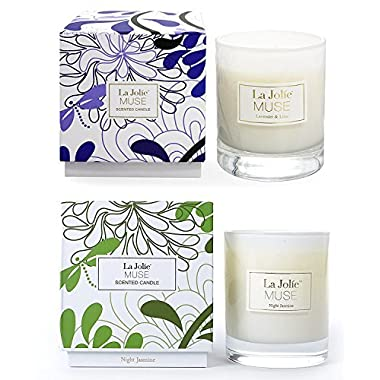 LA JOLIE MUSE Lavender Liliac Jasmine Scented Candles Aromatherapy Soy Wax, 2 Pack 8.1 oz Each, Gift Candles for Women