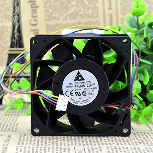 N / A Cooling Fan FFB0812SHE,8038 8CM DC12V 0.87A 3-Wire Two Ball Bearing Server Square Cooler Fan